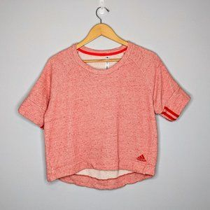 Adidas Red French Terry Short Sleeve Cropped Shirt